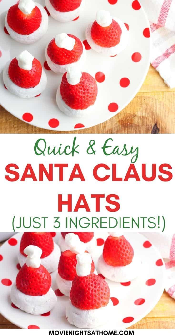 3 Ingredient Strawberry Santa Claus Hats (No Bake!)