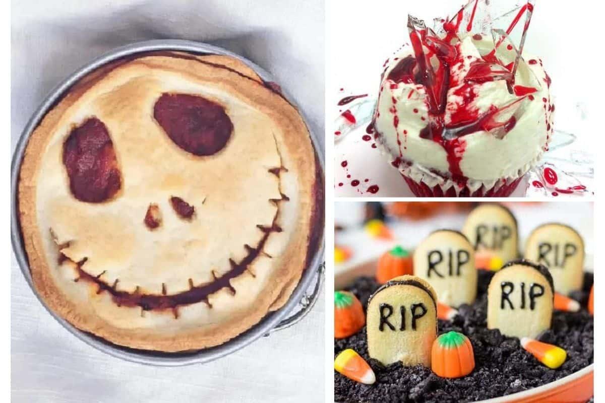 collage of 3 halloween movie night snacks