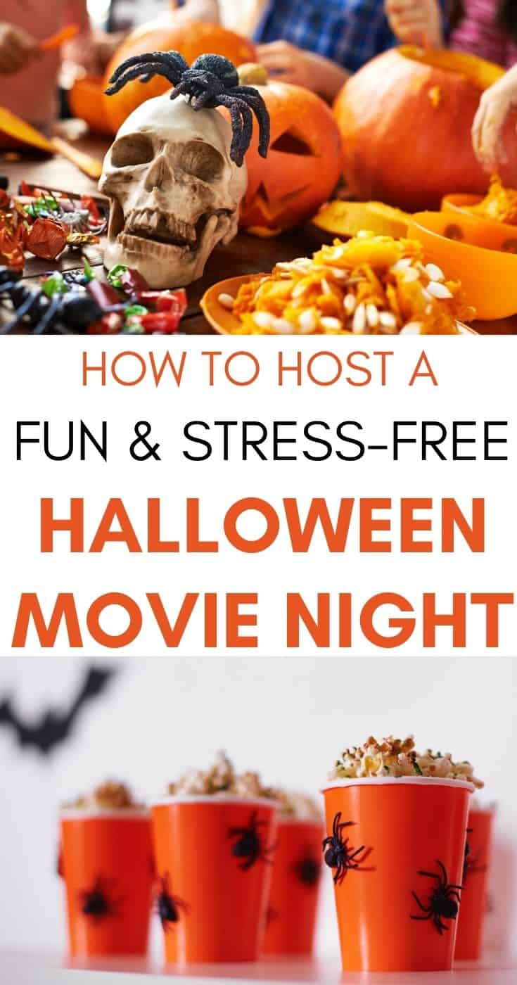 collage of halloween movie night decor and food