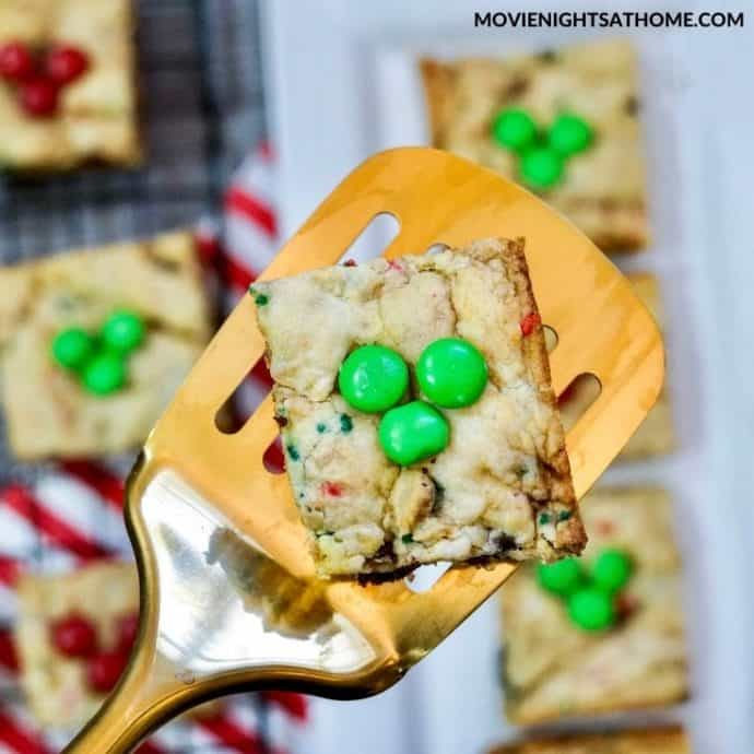 one Christmas mickey cookie bar up close