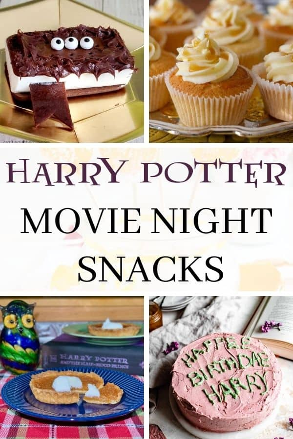 collage of Harry Potter movie night treats