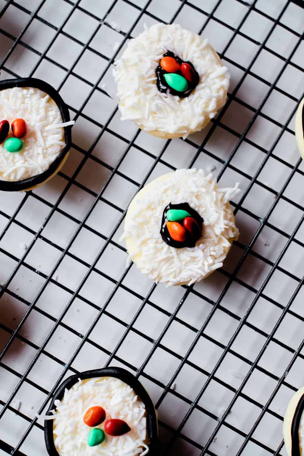 add your m&ms or seeds to finish your sushi sugar cookies