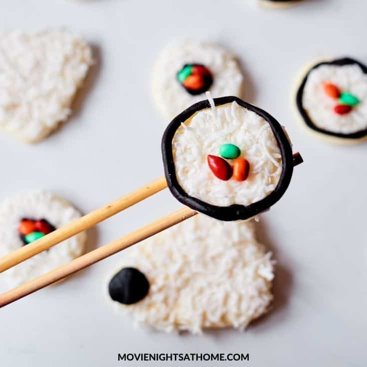 sushi sugar cookie on chop sticks