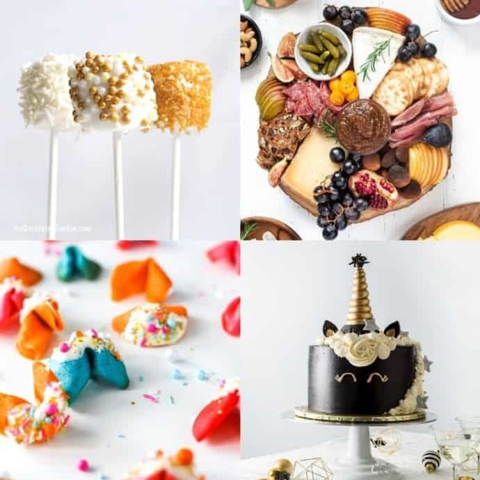 collage of New years eve at home food ideas