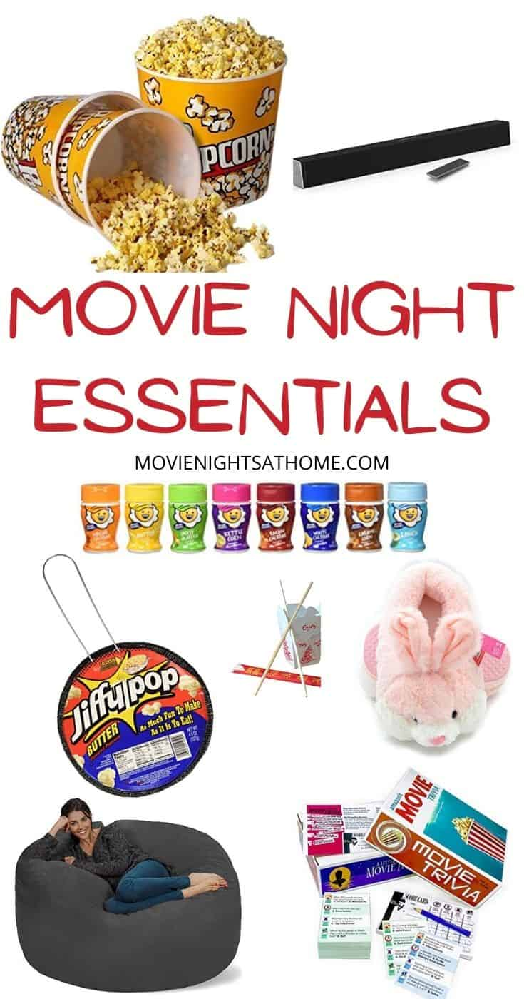 collage of movie night essentials on our checklist