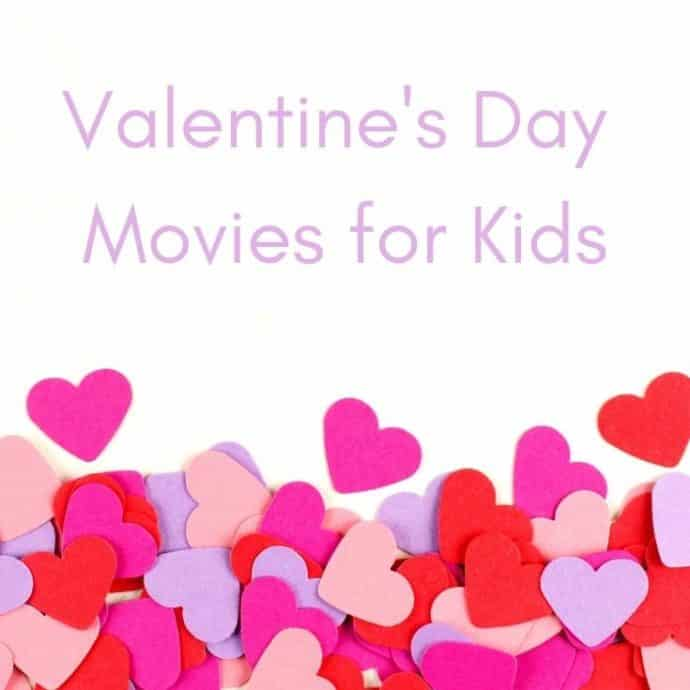 Valentine's Day Movies for Kids with paper hearts on a white backdrop