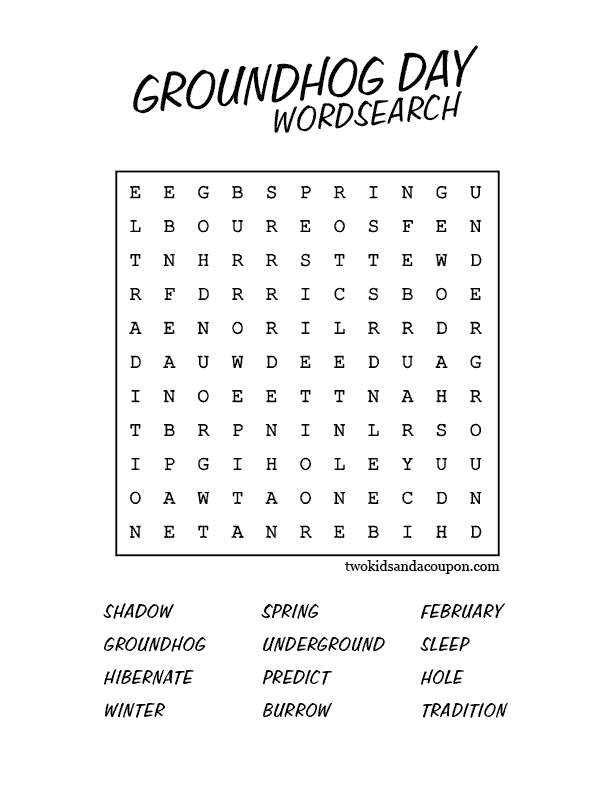 Groundhog's Day Wordsearch