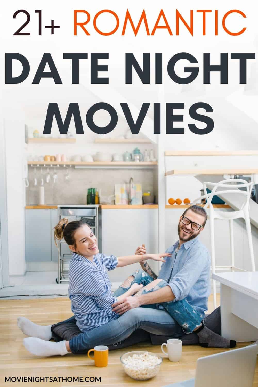 couple looking through the movie date night ideas on their computer