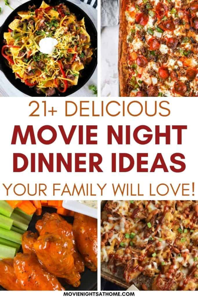 Collage of 4 delicious movie night dinner ideas