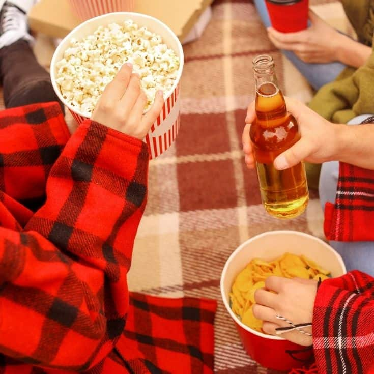 snacks - popcorn, chips, and drinks