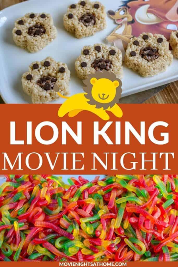 Lion king movie night rice snacks