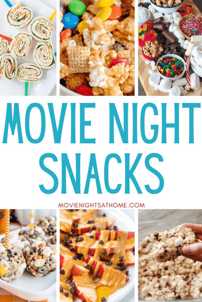 collage of 6 easy movie night snacks