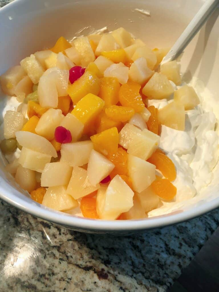Fruit Cocktail into cream cheese mixture
