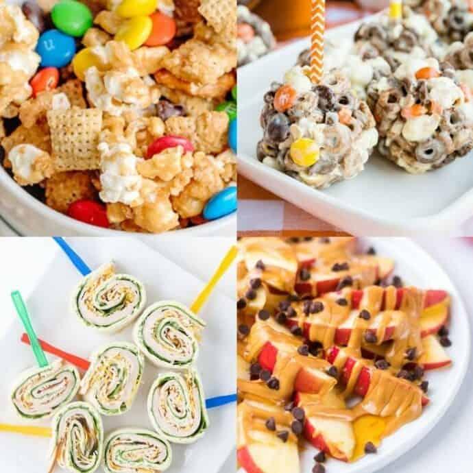 collage of movie night snacks