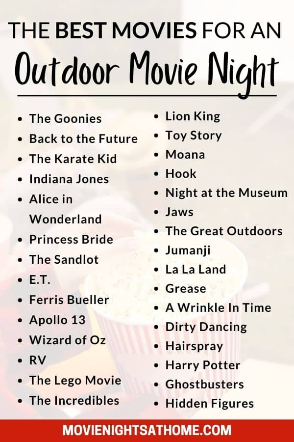 list of movies for an outdoor movie night