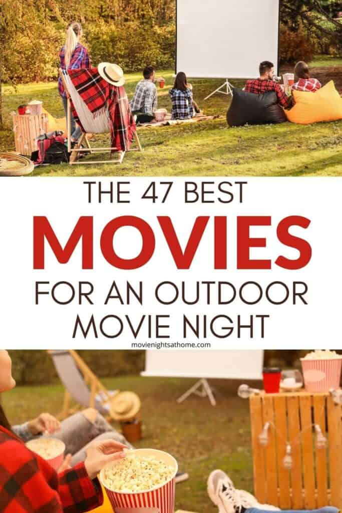 collage of a group watching outdoor movie night movies