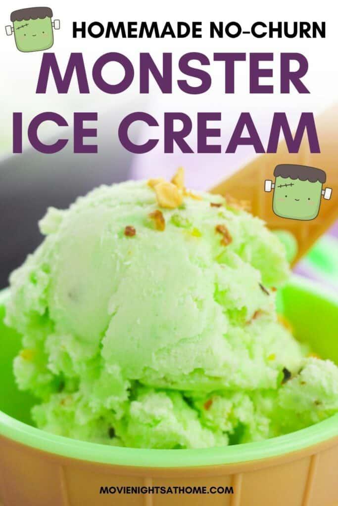 Halloween Monster Ice Cream Recipe with Frankenstein graphic on it