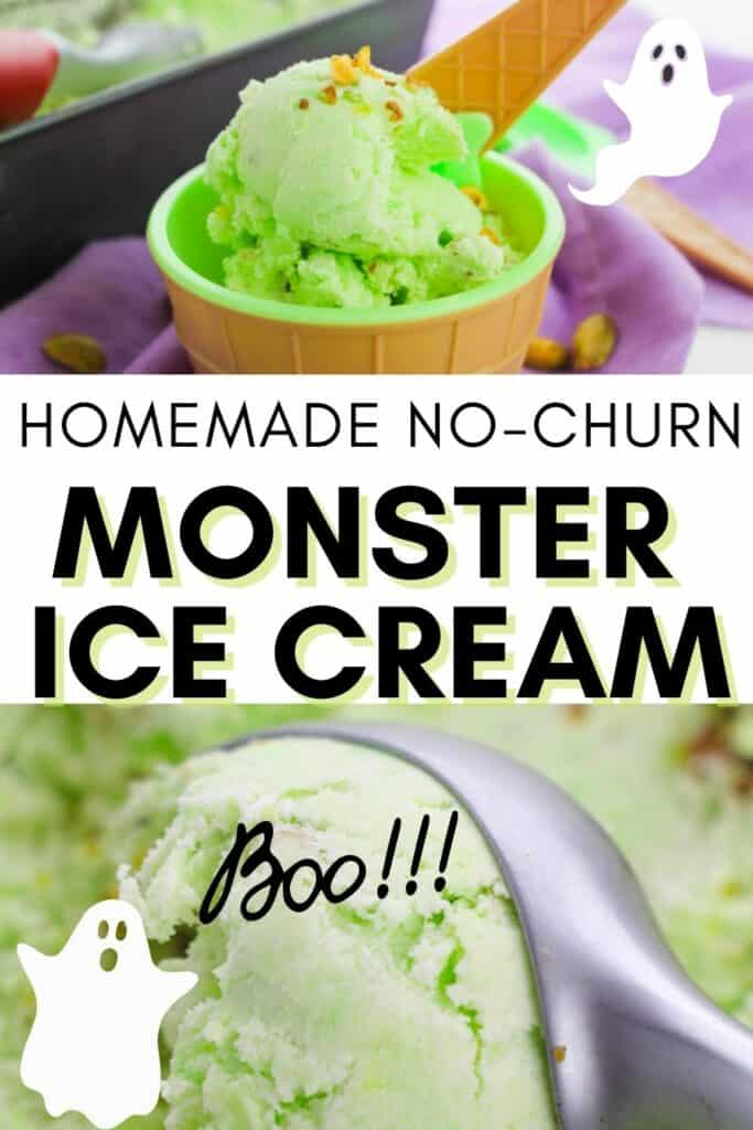 Halloween Monster Ice Cream Recipe Collage with Ghosts on It