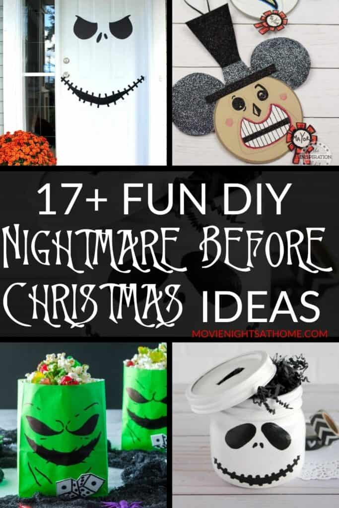 collage of diy Nightmare Before Christmas Decorations