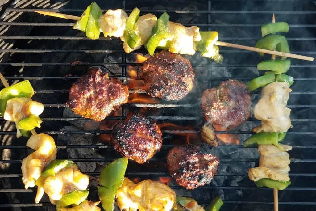 grilled chicken and kabobs