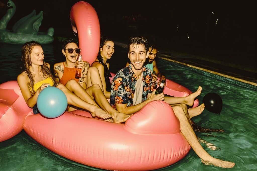pool movie night floats