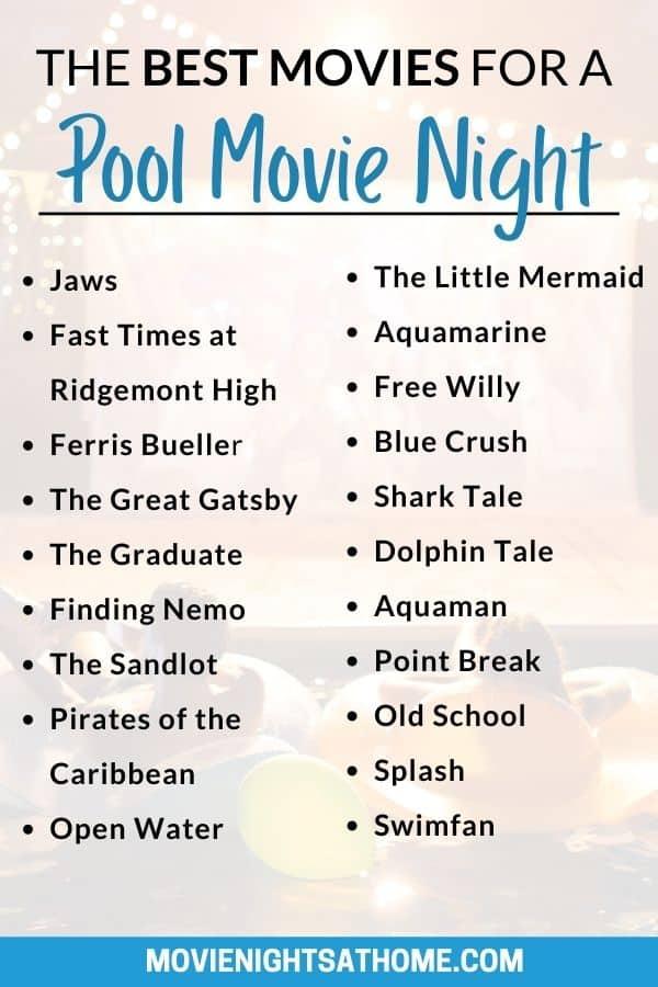 pool movie night movie list