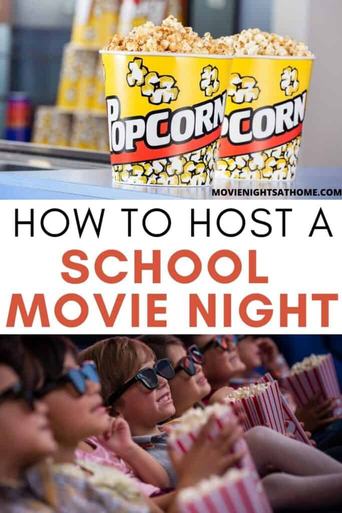"""collage of popcorn and kids watching a movie with text overlay """"how to host a school movie night"""""""