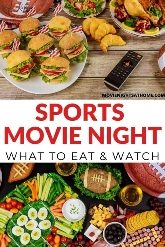 Collage of sports themed foods for a sports movie night