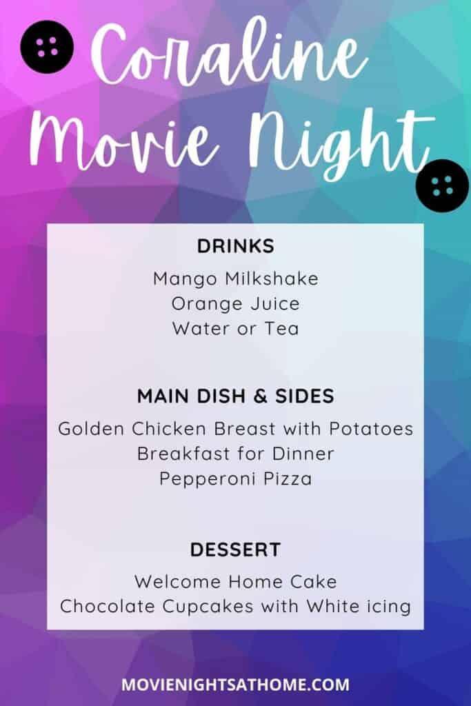 Coraline Movie Night Menu