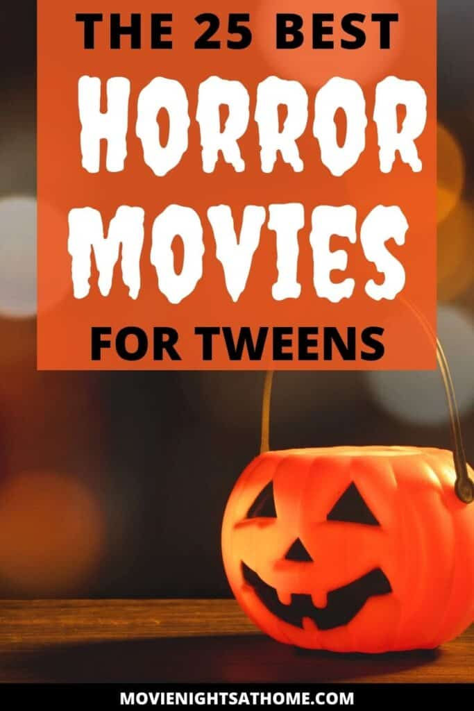 halloween pumpkin pail with the text the 25 best horror movies for teens