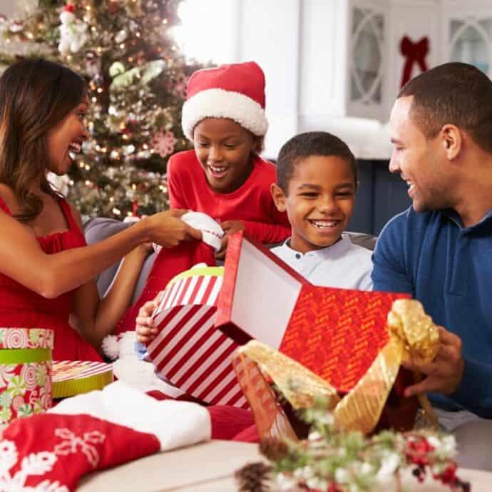 Black family on Christmas morning